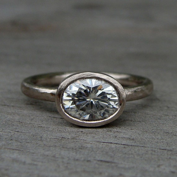 Moissanite Engagement Ring, Oval Forever One G-H-I Moissanite and Recycled 18k Palladium White Gold, Ethical and Eco-Friendly, Made to Order
