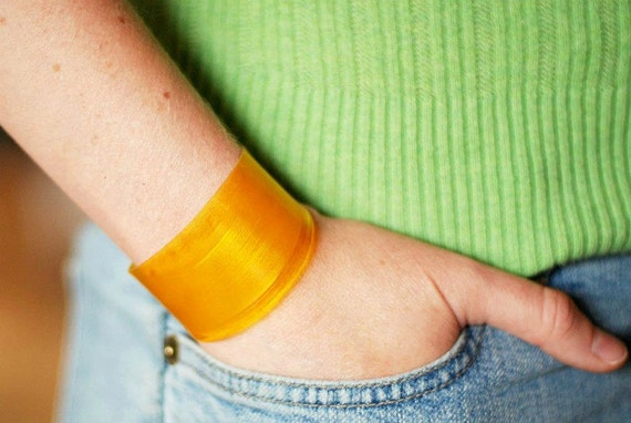 Yellow Vinyl Color Block Cuff Bracelet Made From Recycled Record
