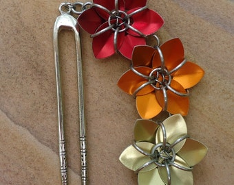 Hair Fork/ Double Hair Stick - Three Flowers - Red Orange Golden Yellow