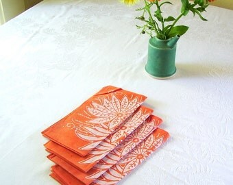 orange picnic napkins. chrysanthemum print