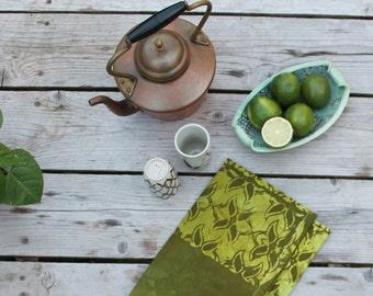 two toned green cotton tea towel