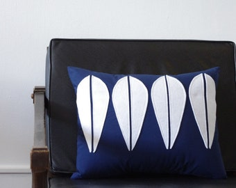 Cathrineholm Lotus Novelty Pillow Mid Century Home Decor  - Navy and White