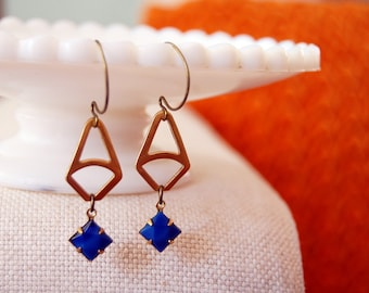 geometric vintage dangle earrings with blue faceted stones- azure triangles