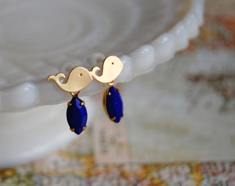 little whale 14k gold plated post earrings with vintage blue faceted drop- nautical whimsy- cobalt