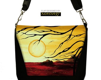 MadArt Unique Digital SLR Camera Bag Dslr Camera Bag Purse Womens Camera Bag Case  moon tree red yellow  RTS