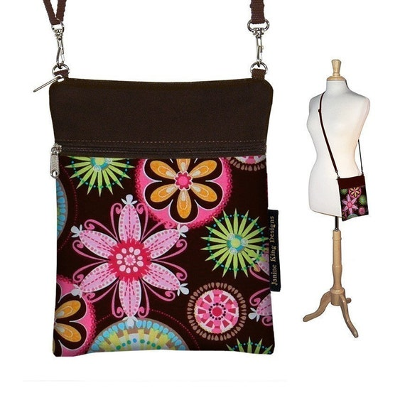 Sling Bag Shoulder Purse Cross Body Bag Small Travel Purse Zipper Fits Kindle 2 - Carnival Pink Brown - In Stock
