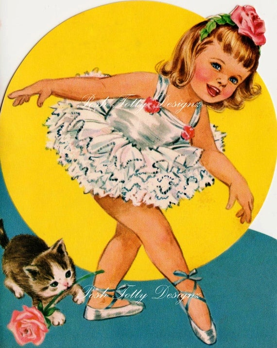 Ballet Lessons With Kitty Vintage Greetings Card Digital Download Printable Images (256)