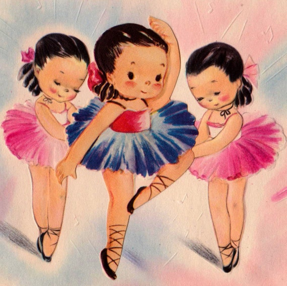 Vintage 1950s Up On My Toes To Wish You A Happy Birthday Ballerina Greetings Card (B2)