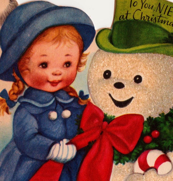 Reserved 1950s To You Niece At Christmas Little Girl and Snowman Vintage Greetings Card (B1)