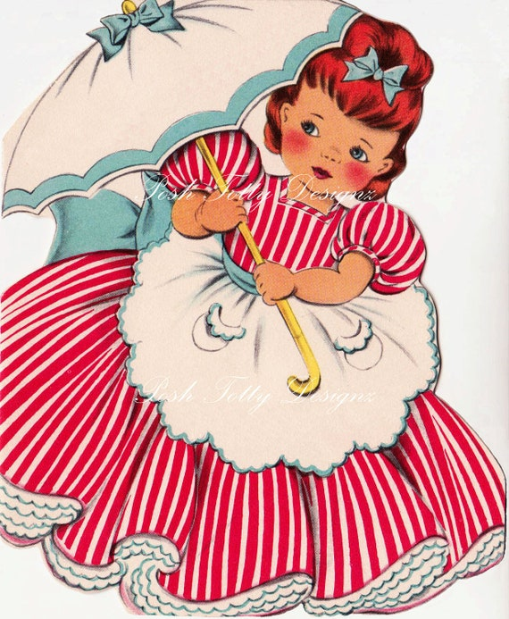 Images Of Vintage Girls First Birthday Card: A Little Girl And Her Parasol 1940s Vintage Greetings Card