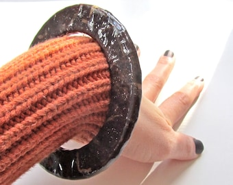 Mud Brown Shimmer Bangle - Decoupage dark coffee brown stacking bracelet with fine copper and silver glitter - paper and plastic jewelry