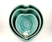 Romantic Heart Shaped Bowls - Three Romantic Blue Ceramic Nesting Heart Bowls -  Blue stacking bowls