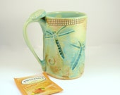 Ceramic Pottery Mug Dragonfly Coffee Cup pottery and ceramics, Large  Mug  Dragonfly  pottery mug  teacup 16 ounces tankard beer stein