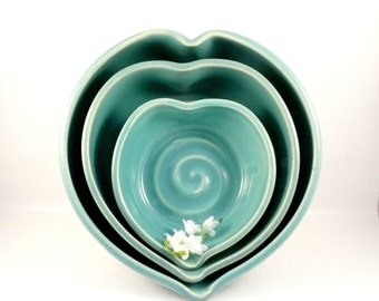 Heart Shaped Bowls Wedding Something Blue, pottery and ceramics,  Three Romantic Blue Ceramic Nesting Heart Bowls -  Blue stacking bowls