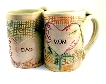 Mom and Dad Cups Personalized Mugs Beer Tankards  - pottery mug for mother and father - large teacups - coffee latte cups with dragonflies