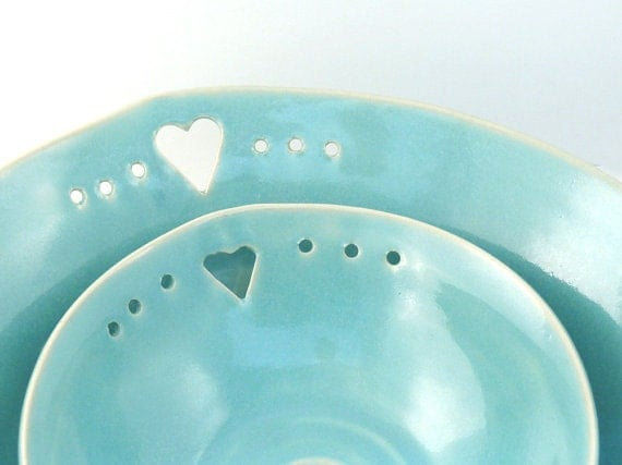 Handmade Art Bowls - Two Nesting Blue Dishes in robin's egg blue with hearts - Ready to Ship home decor