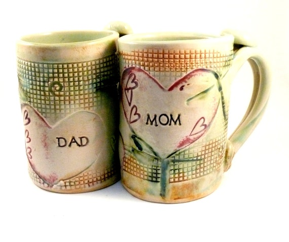 Mom and Dad Cups Personalized Mugs Beer Tankards, Mother's Day Gift pottery mug for mother and father teacups, coffee latte cups dragonflies