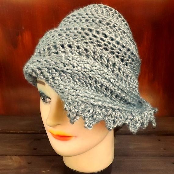 Gray Cloche Hat, Womens Crochet Hat, Gray Womens Hat 1920s, Gray Hat, LAUREN 1920s Cloche Hat, Flapper Hat, Crochet Flower