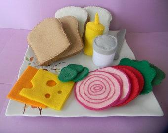felt Sandwich Shop set childrens play food