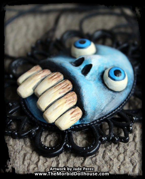 Blue Monster Face With Big Teeth Cameo Necklace