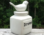 White bird dreams lidded ceramic jar inspirational catch all