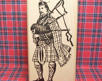 Victorian Scottish Bagpiper Rubber Stamp