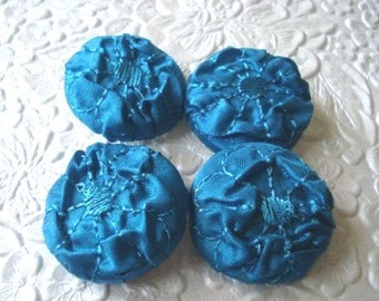 4 fabric covered  buttons - 1 1/8 inch - olympian blue