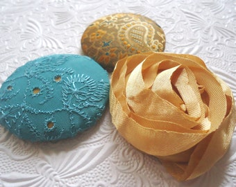 gold button, aqua button, fabric covered buttons , embroidered buttons, size 75 buttons