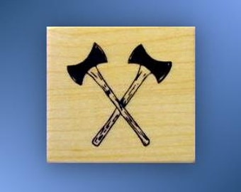 CROSSED AXES Mounted Lumberjack axe rubber stamp, ax, logger, Father's Day, timber sports, masculine, Sweet Grass Stamps No.14
