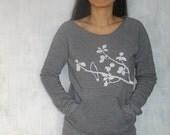 Womens Graphic Sweatshirt - Grey Sweatshirt for Women - Long Sleeve Womens Sweatshirt - Printed Womens Sweat Shirt - Kangaroo Sweatshirt