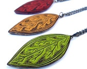 Rustic Leaf Necklace - Leaf pendant -Green, Mustard Yellow or Rust Red