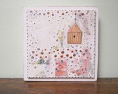 Clearance.  Abstract Painting , Acrylic Painting , Mixed Media Folk Art House , Whimsical Painting Original