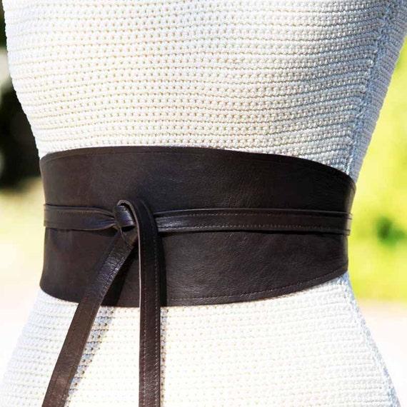 reversible leather wide belt obi wrap sash corset