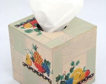 Fruit & Flower on Deco Woodgrain 1930's Antique Wallpaper Tissue Box Cover