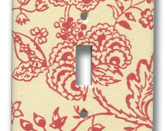 Red and White Floral 1960's Vintage Wallpaper Single Switch Plate