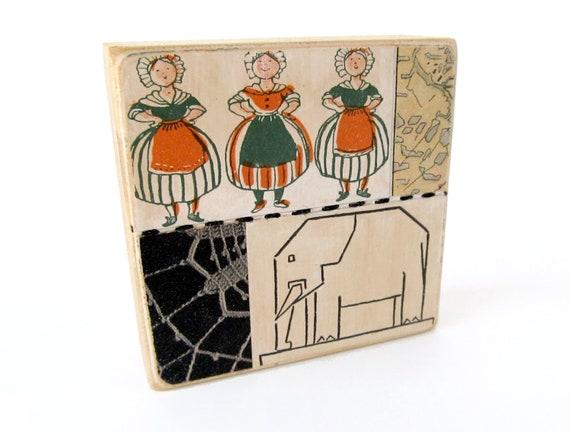 Elephant - Collage ART BLOCK - Original Mixed Media Collage