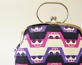 Frame purse with handle purple cars