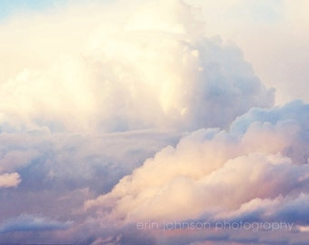 landscape cloud photography pink decor blue decor nursery art fine art sky photography cloud wall art Look at the Clouds