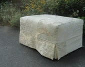 Shabby Chic Creamy Patchwork Ottoman Skirted Slipcover and Ottoman