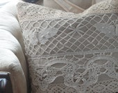 Small Shabby Chic Butterfly Lace Applique Decorative Pillow