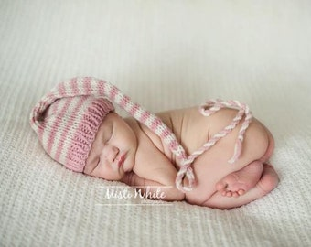 Newborn Baby Girl Knit Hat BaBY PHoTO PRoP Long Tail StoCKiNG CaP Dusky Pink Ivory Stripe Beanie PiCK CoLOR Coming Home Munchkin Toque GiFT