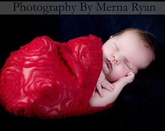 Red Rose Newborn Wrap,  CHRiSTMaS BaBY PHoTO PRoP, Sheer Stretchy Cloth Swaddler, LoNG Pregnancy Wrap, VaLeNTiNEs DaY Prop Sling, SCaRF GiFT