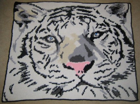 White Tiger Face Hand Made Crocheted Afghan BRAND NEW