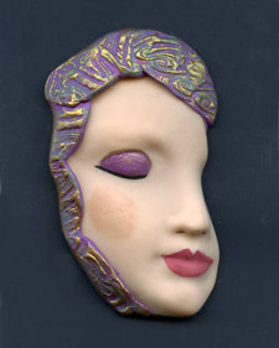 Polymer  OOAK Face Shard with Lavender, Green Gold  Hat  Undrilled  FPSH 1