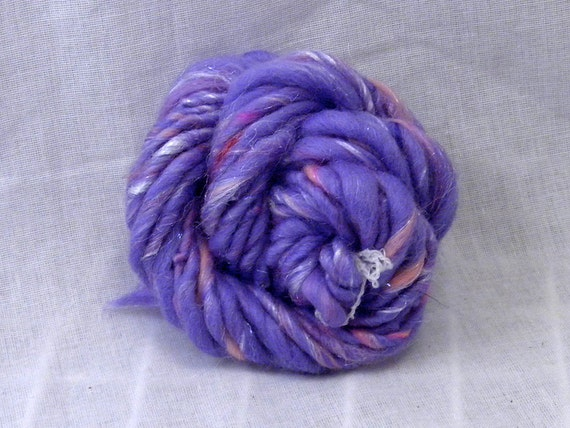 SNIPPET - Lilac, Handspun Yarn, Super Bulky, 11 Yards, Merino Wool, Firestar