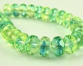 CLOSEOUT SALE for Czech Glass Faceted Gemstone Donut-Green-Blue 7x5mm-25 Beads