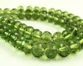 CLOSEOUT SALE for Czech Glass Faceted Gemstone Donut-Olivine-7x5mm-25 Beads
