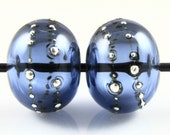 Sapphire Blue Fine Silver Droplet Hollow Lampwork Glass Bead Pairs