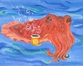 Cuttlefish With Bubble Pipe pop surrealism art reproduction print 5 x 7 deep sea creature cephalopod tentacle