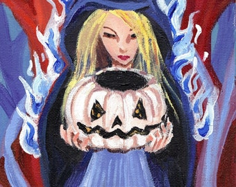 Ghost lantern blue witch and white pumpkin original art Halloween 6 x 8 acrylic painting haunted horror art cloaked woman